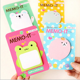 Wholesale Post Note Pads Design - Wholesale- New Funny Cute Cartoon Animal design Notepad sticky emo pad Paper sticky note sticker message post  No.0019