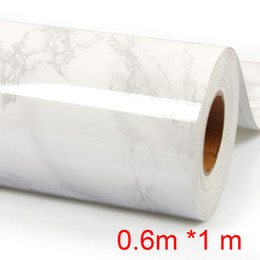 Wholesale Reflection Sound - Wholesale- Free shipping thicken Imitation marble waterproof wallpaper marble wardrobe kitchen cabinet furniture paint 1M Self-adhesive