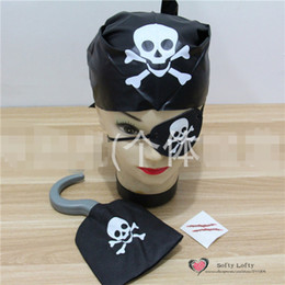 Wholesale Kids Pirate Ships Toys - Wholesale-Free Shipping 1set=4pcs Pirate Costumes Eye patch+Hook+Scarf+Scar for kids Halloween Party Toys Make up Prank Joke Supply Gifts