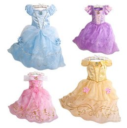 Wholesale Cinderella Dresses For Girls - 4 styles Cinderella princess dress baby girls beauty TuTu lace dress for party birthday C1643