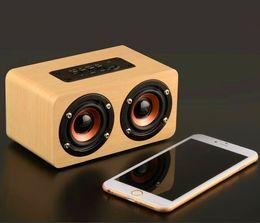 Wholesale Retro Wireless Phone - W5 retro wooden bluetooth speaker classic Home wood HIFI Wireless 3D Loudspeaker Surround hands-free Mic TF card MP3 Player