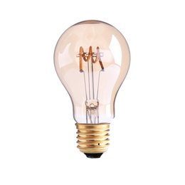 Wholesale Led A19 Dimmable - A19 Amber Shape,3W Dimmable Edison Spiral Filament LED Bulb,Super warm 2200K,E26 E27 Base,Decorative Household Lighting