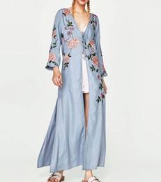 Wholesale Kimono Sleeve Maxi Dress New - US UK Brand Fashion 2018 Summer New Women Casual Maxi Robe Long Dress Embroidery kimono dresses Female Vestido za