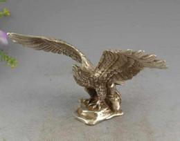 Wholesale Art Bronze Sculpture - Rare Argent fin sculpté chanceux monter en flèche à de grandes hauteurs aigle Sculpture Statue
