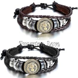 Wholesale Hand Made Bracelets For Men - 2015 Europe Punk Hand Made Braided Charm Bracelet Bangles Gold Lion Head Wristband Cuff Leather Bracelet For Men Adjustable