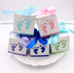 Wholesale Purple Gift Boxes - 200pcs Lot Lovely Baby Feet Foot Laser Cut-out Baby Shower Favor Gift Candy Box Gift Boxes for Boy Girl Birthday Party Favors