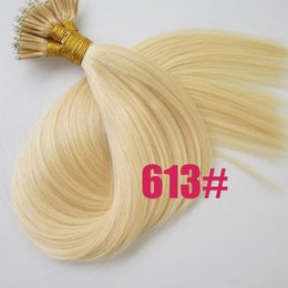 "Wholesale Stick Virgin Hair - 8A DHL Free shipping malaysia virgin human hair products 14""- 26"" 0.7g s 200strands pack 140g set stick tip nano ring hair #613 blonde"