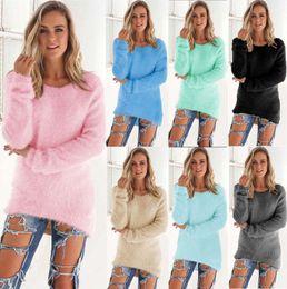 Wholesale Velvet Long Sleeve Top Women - pink velvet sweater women long sleeve long dresso neck S-2XL plus size solid color top sweater blue red black Autumn Winter