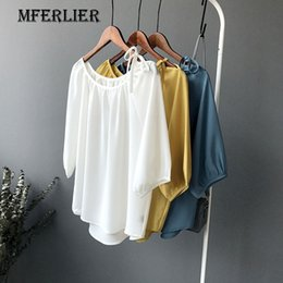 Wholesale Womens Off Shoulder Tops - Summer Loose Soild White Yellow Blue Chiffon Shirt O Neck Shoulder Hollow Out Drawstring Lantern Sleeve Womens Tops And Blouses