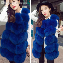 Wholesale fox fur coat xl - Wholesale-top quality New real Luxury fox fur vest women dress winter jacket coat waistcoat long genuine fox fur waistcoat china factory
