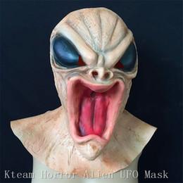 2019 зомби-маски Высший сорт 100% латекс реалистичные НЛО чужеродных глава Маска латекс жуткий костюм партии косплей зомби маска для лица ужас вампир призрак Маска свободный размер дешево зомби-маски