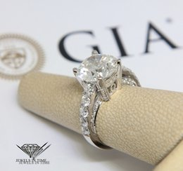 Wholesale Ladies Gold Diamond Ring - 5.11 Round Brilliant Diamond 18k White Gold Ladies Ring + GIA Certificate