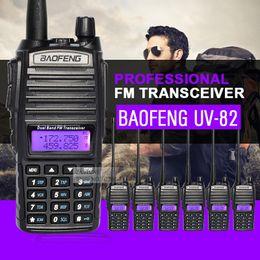 Wholesale Hf Portable Transceiver - Wholesale- 6pcs Baofeng UV-82 Dual Band Walkie Talkie VHF UHF 136-174MHZ 400-520MHZ Frequency Portable Hf Transceiver Ham Radio