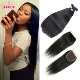 Wholesale Wholesale Brazillian Remy Weave - Brazilian Virgin Hair Weaves Bundles and Top Lace Closure 100% Unprocessed 8A Brazillian Straight Remy Human Hair Extenstions With Closures