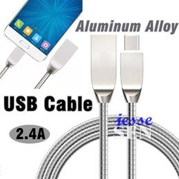 Wholesale Iphone C Mobile - NEW Metal Spring Cables 1M Micro USB Cable Mobile Phone Data Sync Charging Cables for Sumsang Blackberry HTC Best Quality With Retail Box