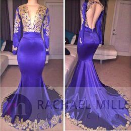 Wholesale Evning Gowns - 2017 Custom Made Elegant Mermaid Purple Formal Prom Dresses V-Neck Long Sleeves Backless Prom Dresses Floor-Length Formal Evning Gowns