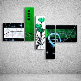 Wholesale abstract lines modern art canvas - Huge 5 Panel Abstract Geometric Oil Painting On Canvas Modern Green Flower Wall Art Pictures Graffiti Line Paintings Home Decor