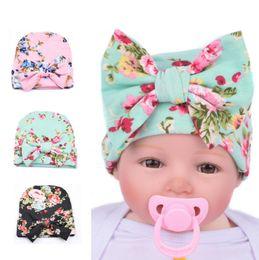 Wholesale Big Flower Hats - Knit Baby hat Newborn Beanie Big bow 0-3months flowers print hat Maternity Boutique Accessories European Spring Autumn