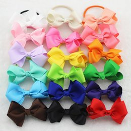 "Wholesale Kids Red Hair Ribbon - Wholesale- 6Pcs 3"" Grosgrain Ribbon Hair Bow with Colorful Elastic Hair Bands Baby Girl HairBow head ring accessories Kids Hair rope"