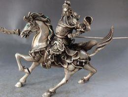 "Wholesale Bronze Warrior Statues - Brass Crafted Human Vintage Tibet Silver 12"" Chinese Silver Ride War-Horse Guan Guan Yu Warrior God Knight Budda Statue"