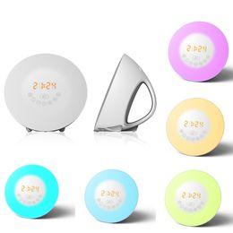 Wholesale Table Clocks For Kids - Wake Up LED Light Alarm Clock With Sunrise Simulation FM Radio Lamp Table Night Gift for Kids LEG_75B