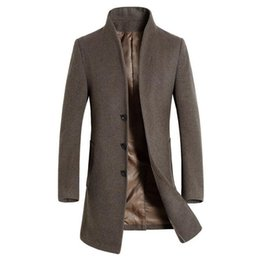 Wholesale Long Black Wool Coat Mens - Mens Autumn and Winter Jackets Men Trench Coats Man Winter Outerwear Trench Jacket Mens Overcoat Casual Wool Coat