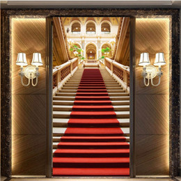 Wholesale Red Carpet Entrance - Free Shipping 3D Stereo Custom European Staircase Red Carpet Church Entrance Map Living Room Lobby Wallpaper High Quality Mural