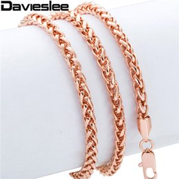 Wholesale Wheat Chain Steel - Wholesale- Wheat Spiga Chain 4MM Mens Womens Rose Gold Filled Necklace GF Chain Wholesale Necklace Personalized Jewelry LGN255
