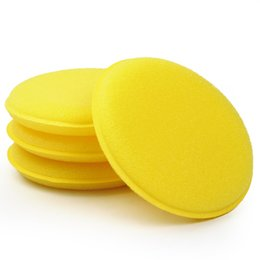 Wholesale Wax Applicators - Wholesale-Yellow Anti-Scratch Car Wax Sponge Applicator Pads Tyre Dressing Foam Polishing Towel 12 pcs set Car Cleaning Tool
