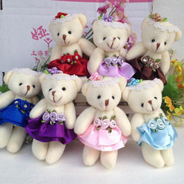 Wholesale Promotional Teddy - For Christmas Gift Wholesale 12CM lovely girls plush toy doll stuff&plush mini bouquets bear toy for promotional gift WB002