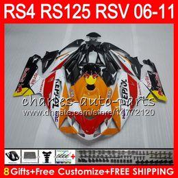 Aprilia rs 125 carenados online-Cuerpo para Aprilia RS4 RSV125 RS125 06 07 08 09 10 11 RS125R RS-125 70HM19 Repsol naranja RSV 125 RS 125 2006 2007 2008 2009 2010 2011 Carenado