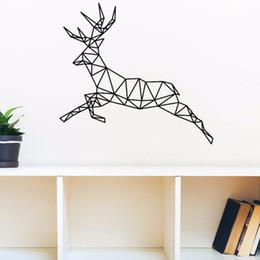 Wholesale Drop Ship Vinyl - Geometric Reindeer Vinyl Wall Art Decals Creative Animal Wall Stickers for Livingroom Bedroom Various Color Offer Drop Shipping
