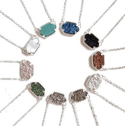 Wholesale Colors For Ladies - Kendra Scott Druzy Necklace Various 10 Colors Silver Plated Geometry Stone Necklaces Valentine Day Gift for Lady 2017 New style