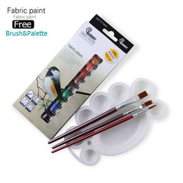 Wholesale Tube Paints - Memory Brand professional Textile Fabric Paint set Non Toxic Tube 12 Colors acrylic paint for artists free offer paint brush