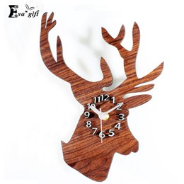 Wholesale Cartoon Wall Watches - Wholesale- Christmas decoration wall Clock Retro Style decor Creative Elk Acrylic clock mute wall watch for bed room home decor quartz
