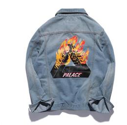 Wholesale London Clothing - Palace Jeans Jacket Men Women Brand Clothing Winter KANYE WEST London Bomber Outwear Coats Flame Fire Palace Skateboards Jackets