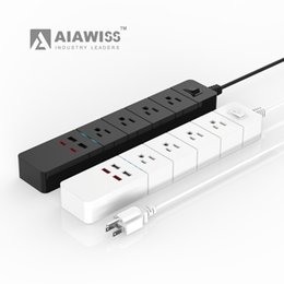 Wholesale surge outlet strip - AIAWISS 4-Outlet Surge Protector Power Strip with 5 Feet Cord and 4 USB charging ports,(Colour: White   Black)