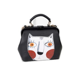 Wholesale Vintage Leather Doctors Bag - Wholesale- 2016 Fashion women leather bag doctor bag ladies vintage cute cat messenger bag
