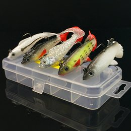 Wholesale Led Fishing Lures - 5pcs 1box 9.3g & 14g package lead fish Soft Baits Fishing Hooks Fishhooks Silicone lures Double Hook Artificial Lure Pesca Tackle Accessorie