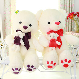 Wholesale Large Size Teddy Bear - Large Size Children's day gifts teddy bear plush toy the mother come with kid bear plush toy