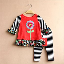 Wholesale Girl Red Tights Tutu - New 2017 Girls Outfits Sets Flower Tops Shirt Striped Long Sleeve Cotton Tee + Leggings Tights Pants Princess Girl 2pcs Set Red A7124