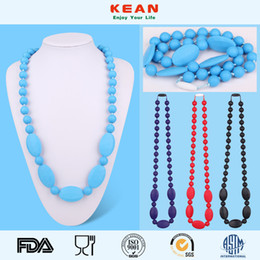 Wholesale Wholesale Diamond Shaped Beads - kean eething Necklace for Mom to Wear Diamond shape Baby Beads with Teardrop Pendant Silicone Teether Toy 008#