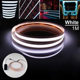 2019 beste neon bar leuchten 100cm Neon Glow Tape EL kaltes Licht RGB Steigbügel flexible Seil Batterie DC3V 5V USB 12V Car Kit blinkende Warnleuchten