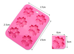 Wholesale Mold Cherry - 6 Even Cherry Blossoms Flower Cake Mold Silicone Flower Fondant Mould Cupcake Soap Molds Household Baking Mould 2pcs Free china post
