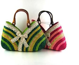 Wholesale Rainbow Bow Tie - Rainbow stripes beach bags bow tie women shoulder tote bags Rattan Woven Braid straw bags with zipper and cell phone pocket