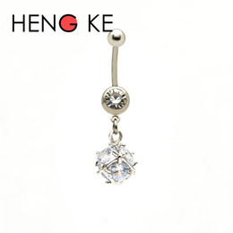 Wholesale Gem Body Button - Crystal Zircon Ball Surgical Steel belly bar Clear CZ gems 14G Dangle Navel Rings Button Beautiful Body Piercing Jewelry New