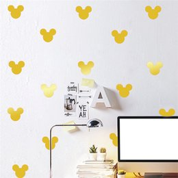 Wholesale Wall Decoration Mouse - 12 pcs set DIY Mickey Mouse Sticker Wall Decals Kids Children Room Decoration Vinyl Wall Art Stickers