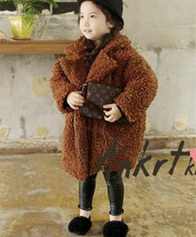 Wholesale Thicken Fleece Parka - Baby Girls boys faux fur coat winter new kids fleece lapel coat children faux fur thicken warm outwear kids parka winter coat T0742