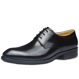 Wholesale Men Office Shoes Brown - High Quality Men Formal Shoes Brown Lace Up Genuine Leather Shoes Man Breathable Office Career Dress Shoes Size 37-44