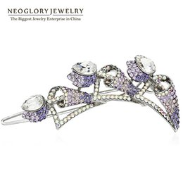 Wholesale Hair Clips For Bridesmaids - Wholesales Austrian Crystal Alloy Crystal Hair Jewelry for Women Brid Bridesmaid Birthday Gifts 2017 New Neoglory CLE QC3